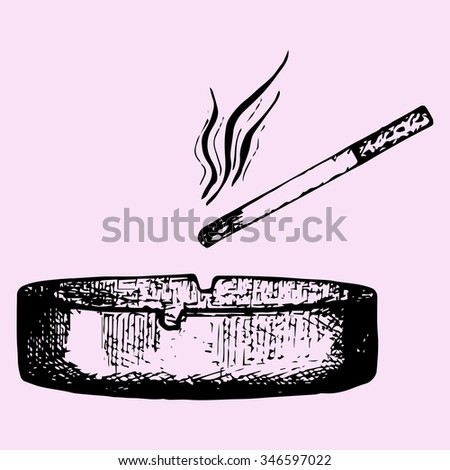 cigarette in an ashtray isolated, doodle style, sketch illustration, hand drawn, raster - stock photo