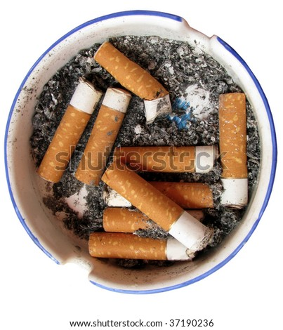 Cigarette in ash tray - stock photo