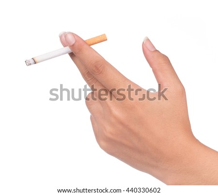 Cigarette in hand isolated on White background. - stock photo