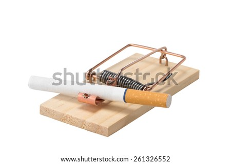 Cigarette in Mousetrap - Cigarette as bait in a mousetrap.  Studio close up isolated on a white background. - stock photo