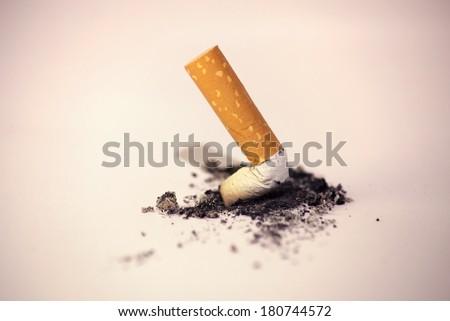 cigarette stub quitting smoking - stock photo