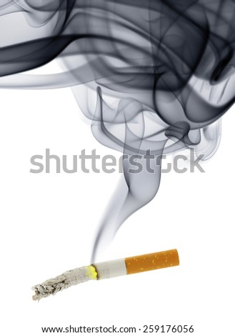 Cigarette stub with smoke isolated over the white background - stock photo