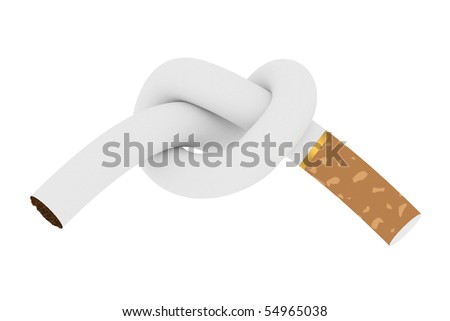 Cigarette tied to a knot isolated on white background. Anti smoking concept. High resolution 3D image - stock photo