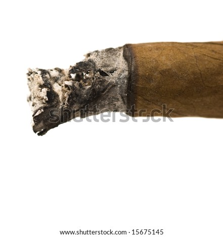 cigarette with ash close up - stock photo
