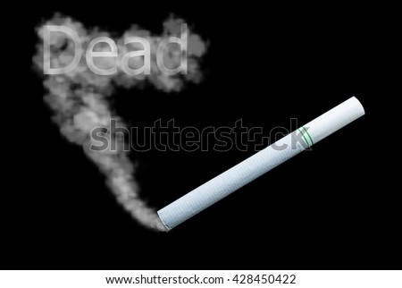 "Cigarette with smoke on dark edition.The concept ""smoking dead"""