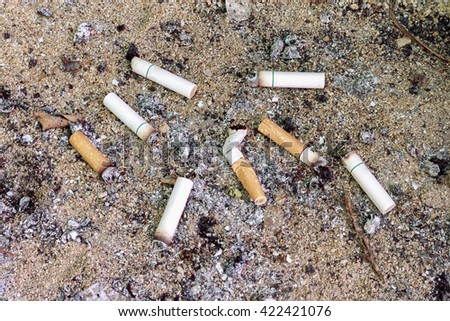 Cigarettes butt in ashtray - stock photo