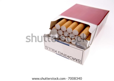 Cigarettes in pack isolated over white - stock photo