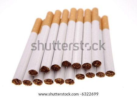Cigarettes isolated over white