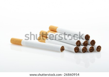 Cigarettes over white