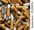 cigarettes texture, busy ashtray square still shot - stock photo
