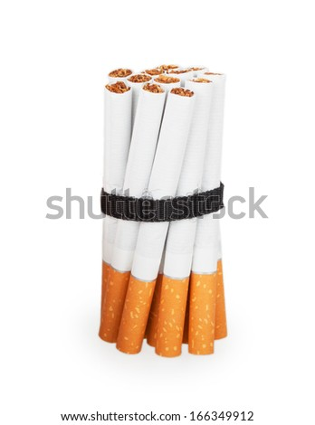 Cigarettes tied with a black ribbon isolated on white background
