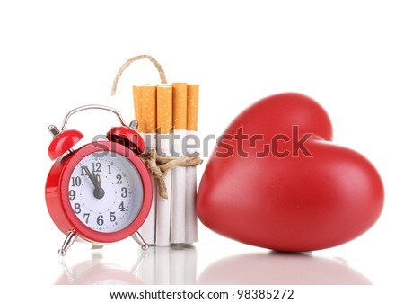 Cigarettes tied with rope and wick isolateed on white - stock photo