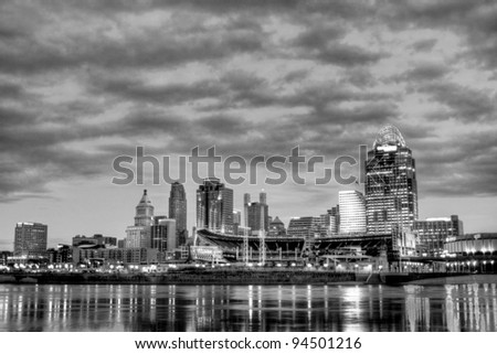 CINCINNATI – JANUARY 16: Sunrise over the skyline of Cincinnati, Ohio, January 16, 2012. Cincinnati is the third largest city in Ohio with a population of 296,943.