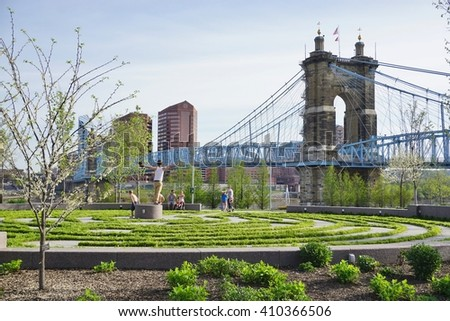 CINCINNATI, OH -20 APRIL 2016- The John A. Roebling Suspension Bridge connects Cincinnati, Ohio to Covington, Kentucky. It was the longest suspension bridge in the world when it opened in 1866.
