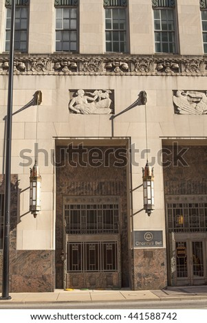 Cincinnati, Ohio, USA, June 16, 2016: entrance to the Cincinnati Bell art deco building. June 16, 2016 in Cincinnati, Ohio, USA.