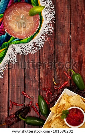 Cinco De Mayo Background With Margarita and Nachos - stock photo