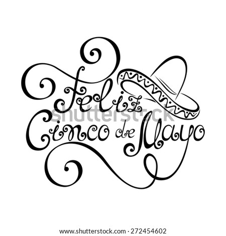 Cinco de Mayo Inscription with Sombrero, Hand Drawn Holiday Lettering. Ornate Vintage Lettering - stock photo
