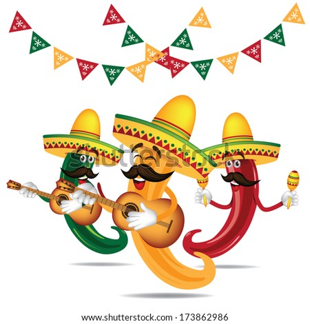 Cinco De Mayo Mariachi jalapeno band with guitar and maracas  - stock photo