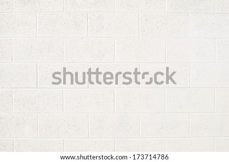 Cinderblock Wall Painted Off White - stock photo