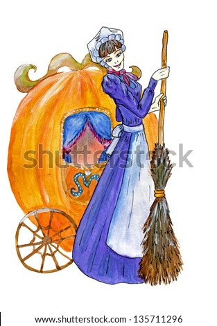 Cinderella with pumpkin carriage isolated (watercolor drawing) - stock photo