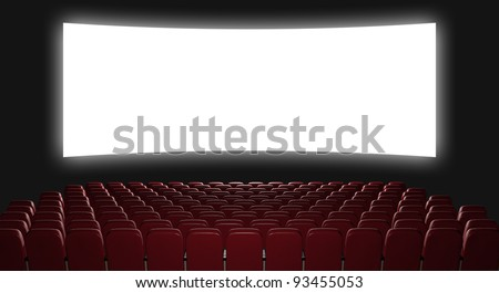 Cinema auditorium. 3d rendering. View on the screen - stock photo