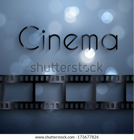 Cinema background with film strip  - raster version - stock photo