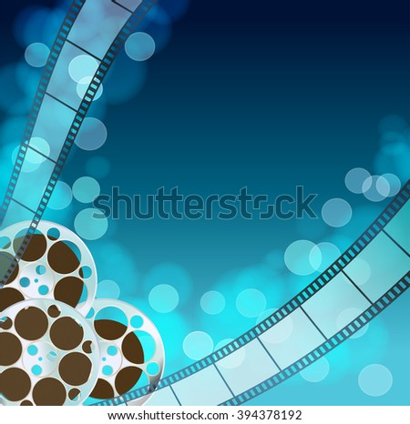 Cinema blue  background with retro filmstrip, film reel. Vintage movie abstract background. Raster version - stock photo