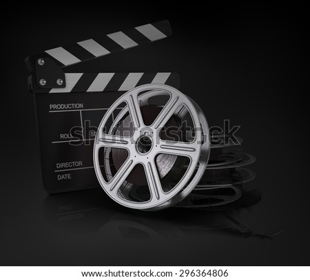 Cinema clap and film reel.