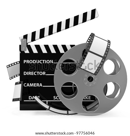 Cinema Clap and Film Roll isolated on white background - stock photo