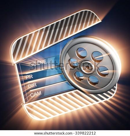 cinema clap on blue background - stock photo