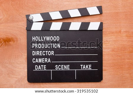 Cinema clapper - an important accessory in the production of films. - stock photo