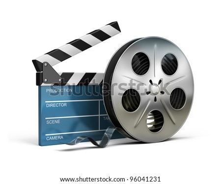 Cinema clapper and film tape. 3d image. Isolated white background. - stock photo