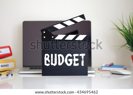 Cinema Clapper with Budget word - stock photo
