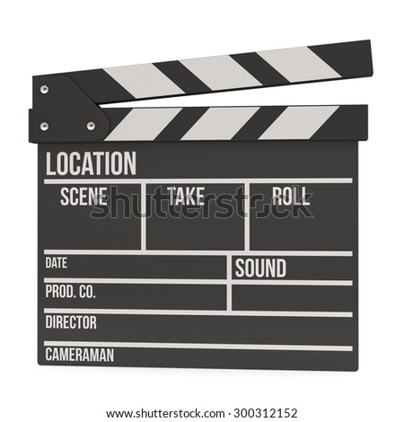 Cinema clapperboard. 3D render isolated on white. Filmmaking and video production device. - stock photo