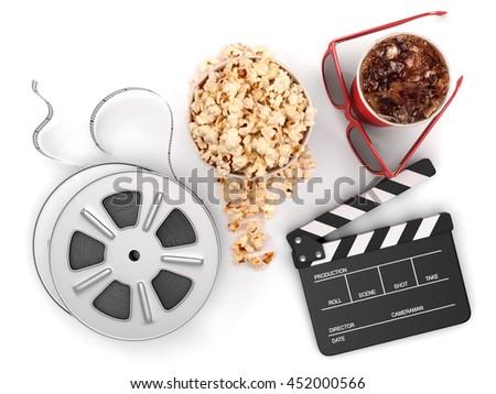 Cinema concept: Clapper board, film reels, popcorn, cola, glasses isolated, 3d illustration - stock photo