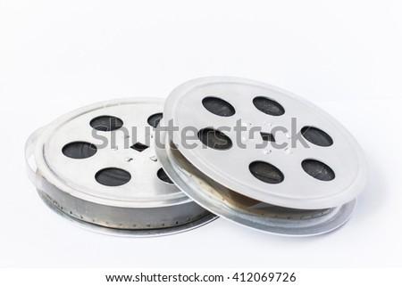 cinema film 35 mm on a light background - stock photo