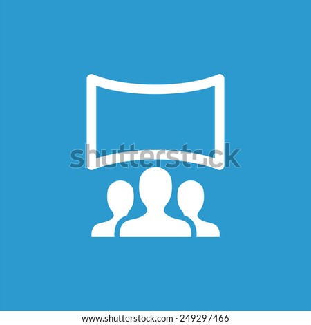 cinema hall icon, isolated, white on the blue background. Exclusive Symbols  - stock photo
