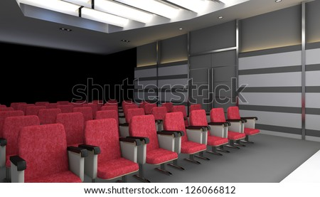 cinema hall with screen and chairs