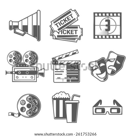 Cinema Icons Set (Megaphone, Tickets, Countdown, Camera, Clapper Board, Masks, Bobbin, Popcorn and Drink, Glasses). Black Outline Style. Raster Copy. - stock photo