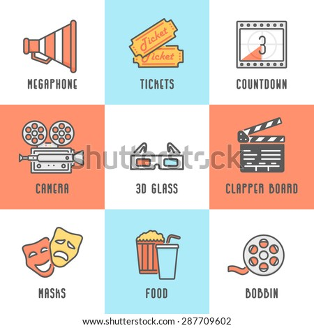 Cinema Icons Set (Megaphone, Tickets, Countdown, Camera, Clapper Board, Masks, Bobbin, Popcorn and Drink, 3D Glass). Trendy Thin Line Design with Flat Elements. Raster Copy. - stock photo