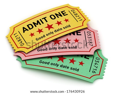Cinema industry entertainment, film production and movie premiere concept: group of color tear-off tickets with Admit One text isolated on white background - stock photo