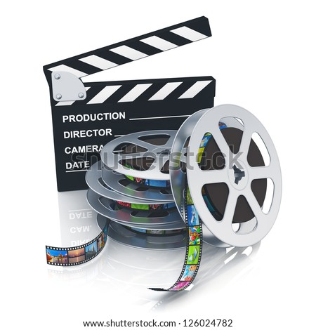 Cinema, movie, film and video media industry concept: clapper board and stack of metal film reels with filmstrips with colorful pictures isolated on white background with reflection effect - stock photo