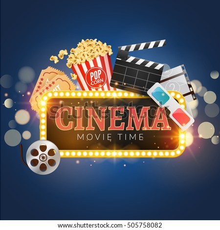 Cinema Movie Poster Design Template Popcorn Filmstrip Clapboard Tickets Time