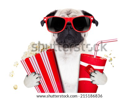 cinema movie tv watching pug dog isolated on white background with popcorn and soda wearing 3d glasses - stock photo