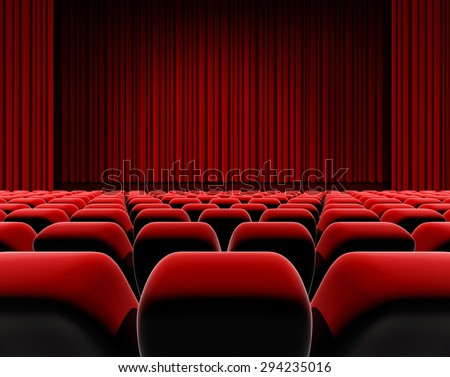 Cinema or theater screen, red curtain and stage with seats. - stock photo