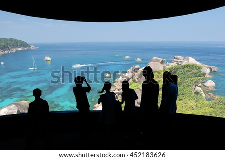 cinema screen with nature photo and audience. - stock photo