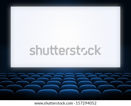 cinema screen with open blue seats - stock photo