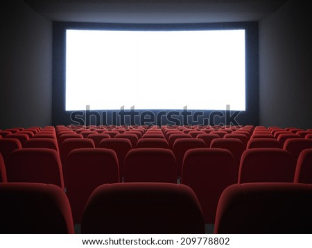 cinema screen with seats - stock photo