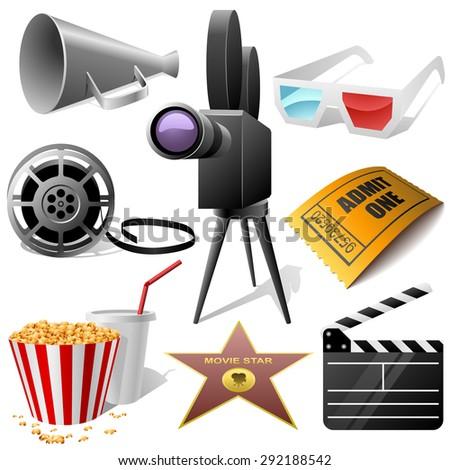 Cinema symbols set isolated on white. - stock photo