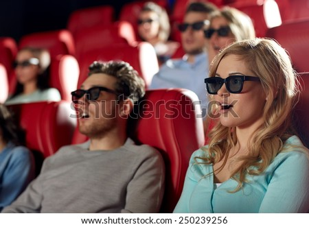 cinema, technology, entertainment and people concept - friends with 3d glasses watching horror or thriller movie in theater - stock photo